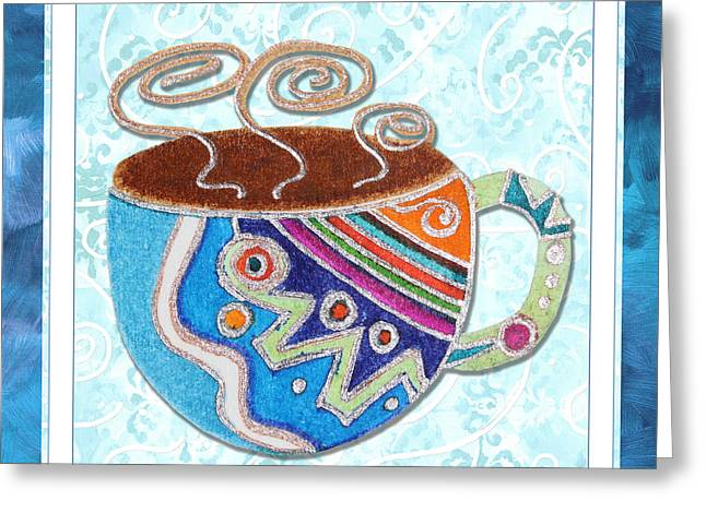 Green Beans Greeting Cards - Kitchen Cuisine Hot Cuppa No20 by Romi and Megan Greeting Card by Megan Duncanson