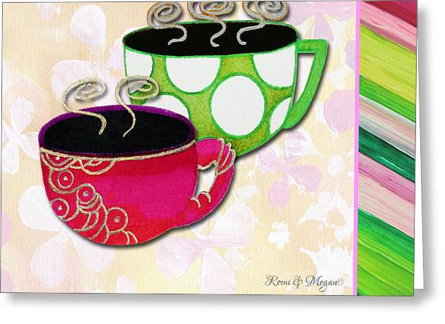 Tea Party Greeting Cards - Kitchen Cuisine Tea Party Napkin Design 1 by Romi and Megan Greeting Card by Megan Duncanson