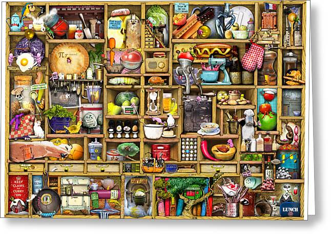 Bizarre Digital Art Greeting Cards - Kitchen Cupboard Greeting Card by Colin Thompson