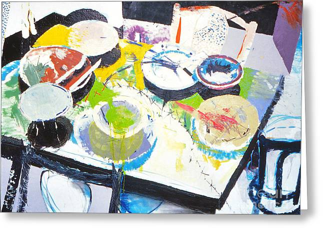 Kitchen Disaster Greeting Card by John Castell