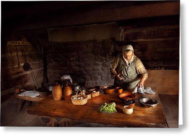 Wooden Bowl Greeting Cards - Kitchen - Farm cooking Greeting Card by Mike Savad