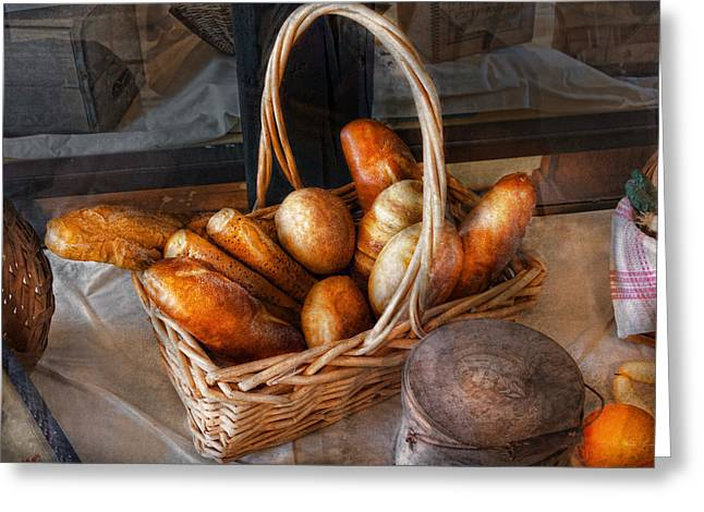 Kitchen - Food - Bread - Fresh bread  Greeting Card by Mike Savad