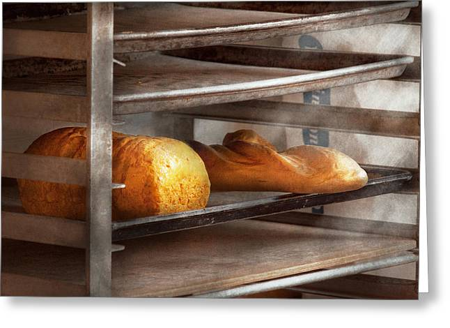 Rack Greeting Cards - Kitchen - Food - Bread - Freshly baked bread  Greeting Card by Mike Savad