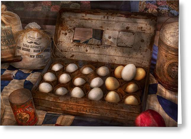 Kitchen - Food - Eggs - 18 eggs  Greeting Card by Mike Savad
