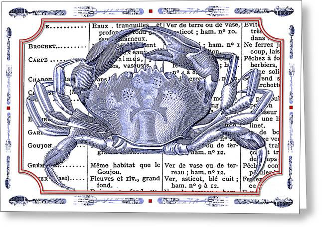 Coastal Decor Mixed Media Greeting Cards - Coastal Decor - Crab Menu French Cooking   Greeting Card by ArtyZen Studios - ArtyZen Home