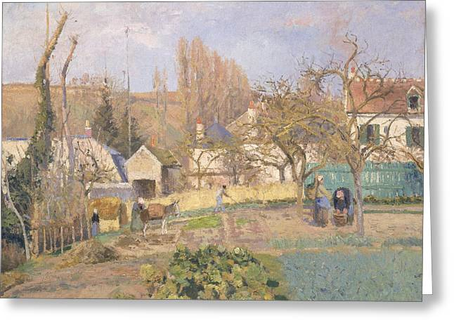Patch Greeting Cards - Kitchen Garden At The The Lhermitage, Pontoise, 1874 Oil On Canvas Greeting Card by Camille Pissarro