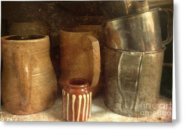 Pottery Pitcher Greeting Cards - Kitchen Gems Greeting Card by Nikki Vig