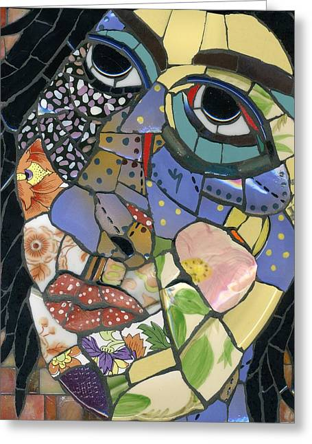 Whimsical. Glass Art Greeting Cards - Kitchen Goddess Greeting Card by Gila Rayberg