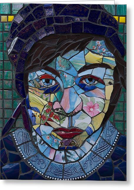 Mosaic Glass Portrait Mixed Media Greeting Cards - Kitchen Goddess No 3 Greeting Card by Gila Rayberg