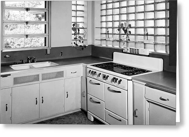 Historic Home Greeting Cards - Kitchen In A Modern Home Greeting Card by Underwood Archives