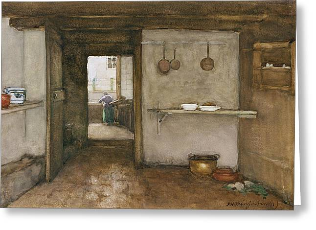Cupboard Greeting Cards - Kitchen Interior, C.1899 Greeting Card by Johannes Hendrik Weissenbruch