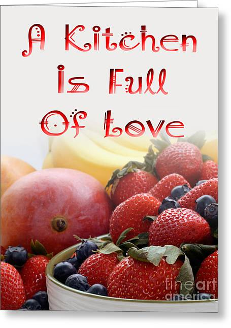 Mango Digital Greeting Cards - Kitchen Is Full Of Love 16 Greeting Card by Andee Design