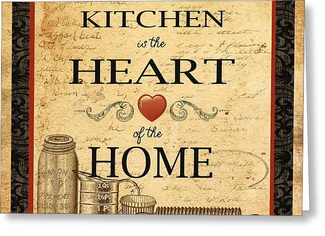Kitchen Is The Heart Greeting Card by Jean Plout