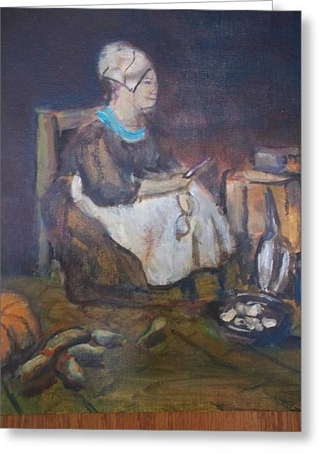 Chardin Greeting Cards - Kitchen maid Greeting Card by Lenny Allgeyer