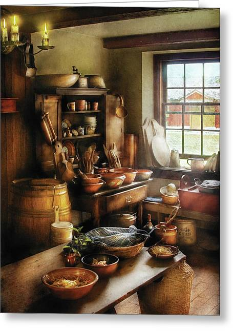 Cluttered Greeting Cards - Kitchen - Nothing like home cooking Greeting Card by Mike Savad