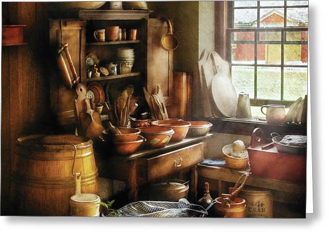 Kitchen - Nothing like home cooking Greeting Card by Mike Savad