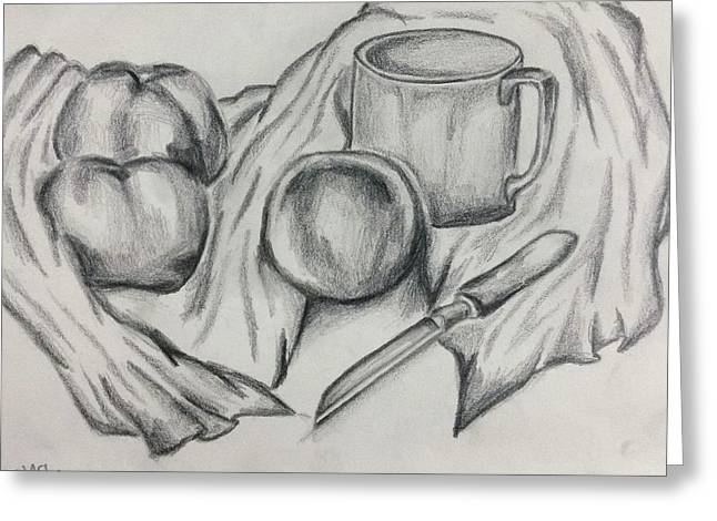 Table Cloth Drawings Greeting Cards - Kitchen objects and fruits Greeting Card by Israel Silva
