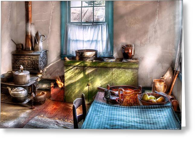 Wood Stove Greeting Cards - Kitchen - Old fashioned kitchen Greeting Card by Mike Savad