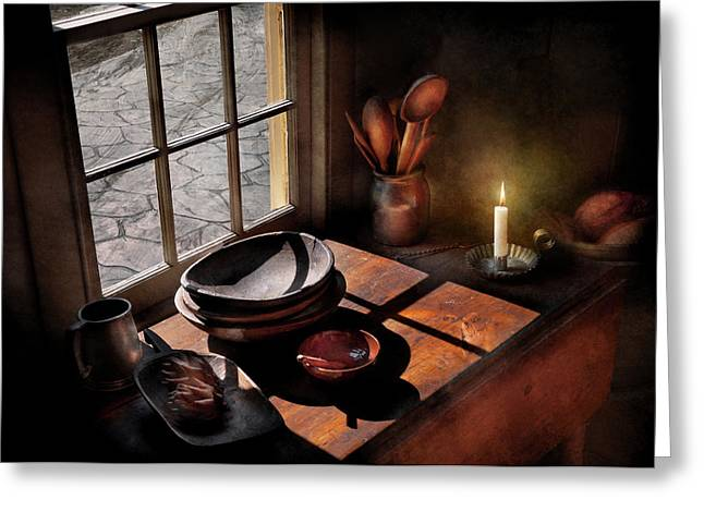 Stein Greeting Cards - Kitchen - On a table II  Greeting Card by Mike Savad
