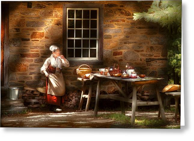 Kitchen - Outdoor Kitchen Greeting Card by Mike Savad