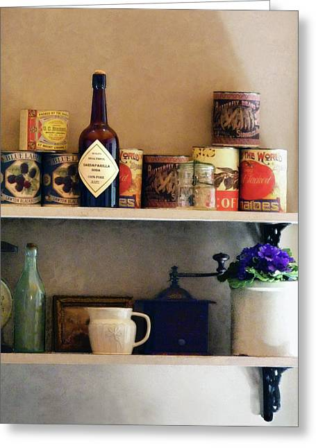 Bottles Greeting Cards - Kitchen Pantry Greeting Card by Susan Savad