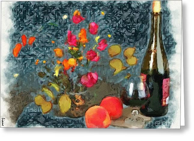 Liane Wright Greeting Cards - Kitchen - Peaches and Wine Painting  Greeting Card by Liane Wright
