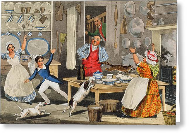 Grate Greeting Cards - Kitchen Scene Greeting Card by Henry Thomas Alken