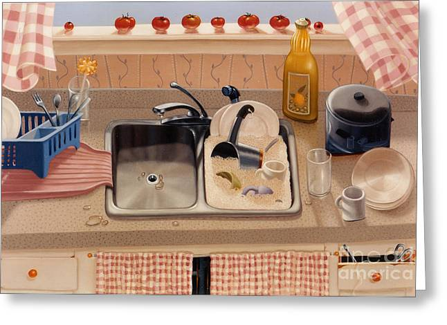 Sink Greeting Cards - KITCHEN SINK bubba lees 1997  Skewed perspective series 1991 - 2000 Greeting Card by Larry Preston