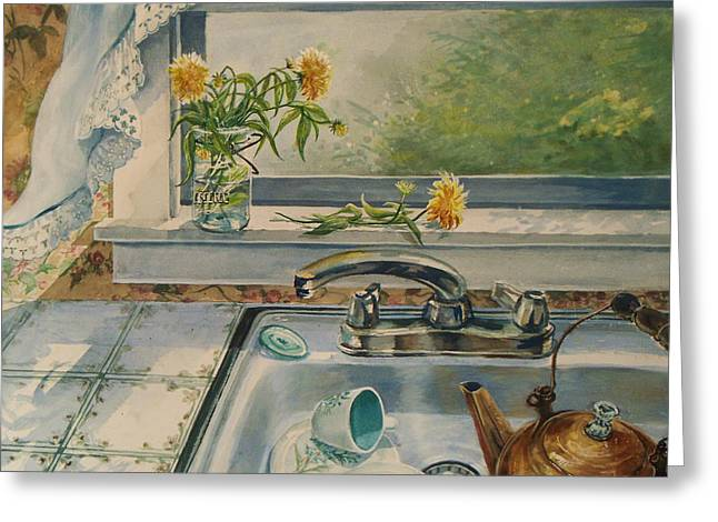 Early Sink Greeting Cards - Kitchen Sink Greeting Card by Joy Nichols
