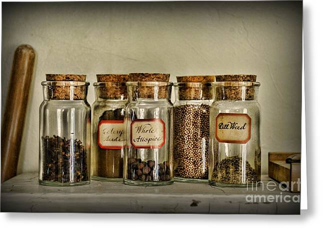 Gifts For A Cook Greeting Cards - Kitchen Spices Colonial Era Greeting Card by Paul Ward