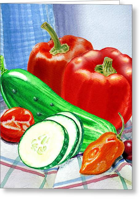 Fresh Produce Greeting Cards - Kitchen Still LIfe Sweet And Spicy  Greeting Card by Irina Sztukowski