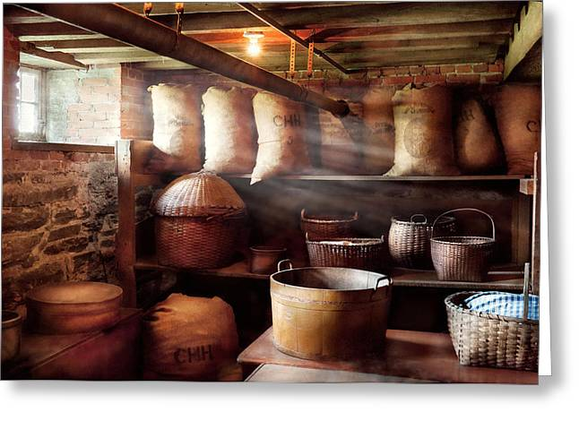 Basement Art Greeting Cards - Kitchen - Storage - The grain cellar  Greeting Card by Mike Savad