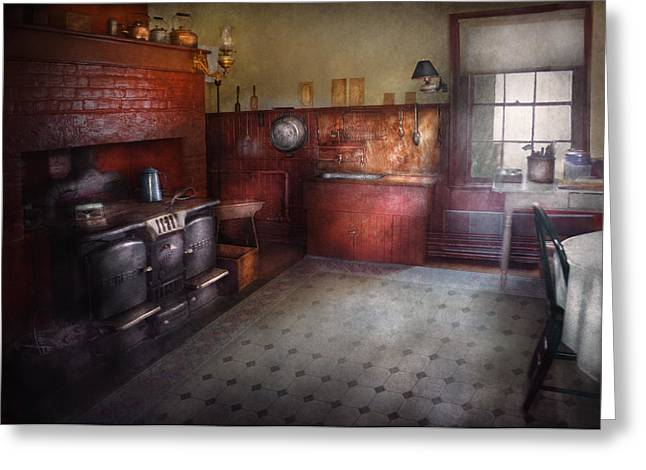 Wood Stove Greeting Cards - Kitchen - Storybook cottage kitchen Greeting Card by Mike Savad