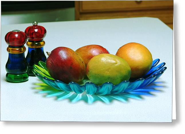 Mango Greeting Cards - Kitchen Table Greeting Card by Devinder Sangha
