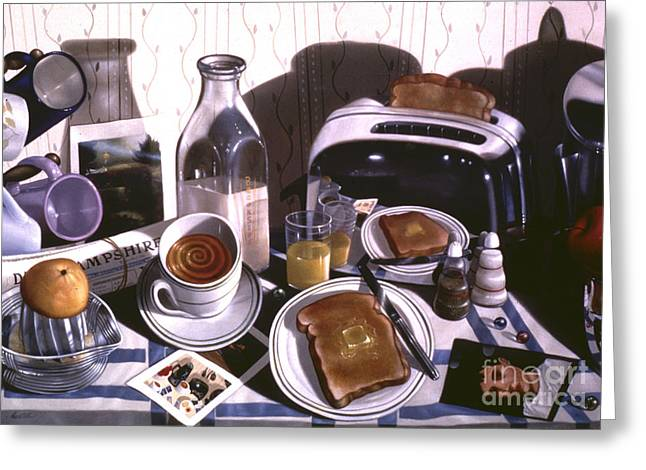 Still Life Greeting Cards - KITCHEN TABLE no.2 1994  Skewed perspective series 1991 - 2000 Greeting Card by Larry Preston
