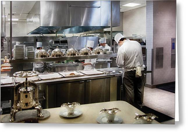 People Greeting Cards - Kitchen - The chefs at the Eiffel Tower Restaurant Greeting Card by Mike Savad