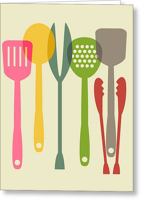 Tool Greeting Cards - Kitchen tools Greeting Card by Ramneek Narang