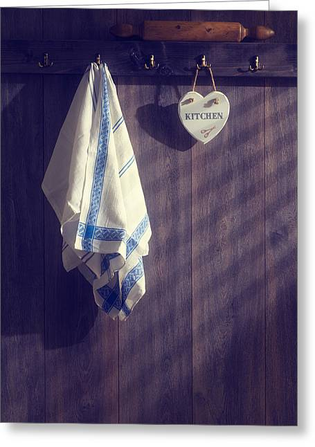 Wooden Spoon Greeting Cards - Kitchen Towels Greeting Card by Amanda And Christopher Elwell