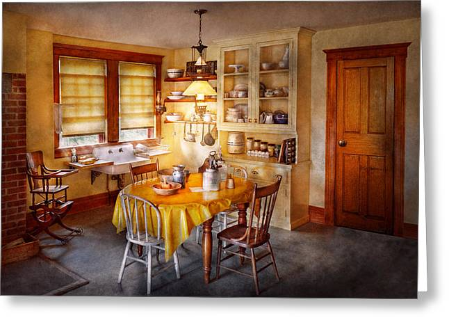 Kitchen - Typical farm kitchen  Greeting Card by Mike Savad