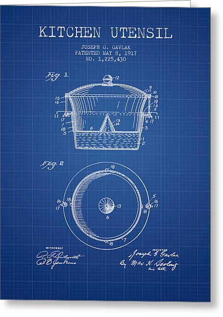 Kitchen Utensils Greeting Cards - Kitchen Utensil patent from 1917 - Blueprint Greeting Card by Aged Pixel