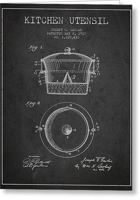 Kitchen Utensils Greeting Cards - Kitchen Utensil patent from 1917 - Dark Greeting Card by Aged Pixel
