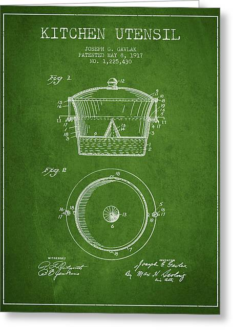Kitchen Utensils Greeting Cards - Kitchen Utensil patent from 1917 - Green Greeting Card by Aged Pixel