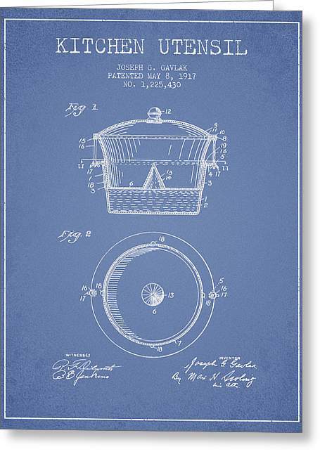 Kitchen Utensils Greeting Cards - Kitchen Utensil patent from 1917 - Light Blue Greeting Card by Aged Pixel