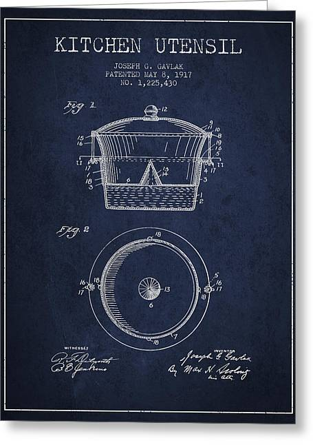 Kitchen Utensils Greeting Cards - Kitchen Utensil patent from 1917 - Navy Blue Greeting Card by Aged Pixel