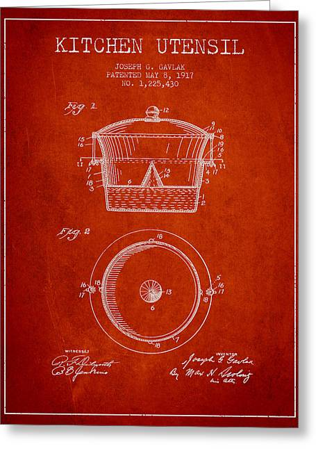 Kitchen Utensils Greeting Cards - Kitchen Utensil patent from 1917 - Red Greeting Card by Aged Pixel