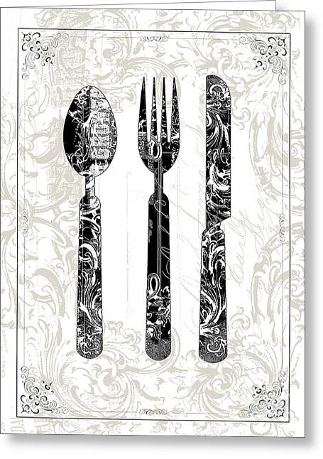 Kitchen Licensing Mixed Media Greeting Cards - Kitchen Utensils Print Greeting Card by Anahi DeCanio
