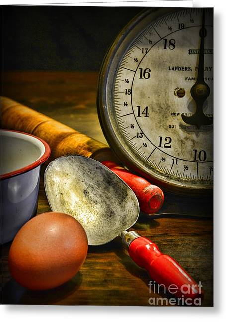 Rolling Pin Greeting Cards - Kitchen - Vintage Kitchen Scale Greeting Card by Paul Ward