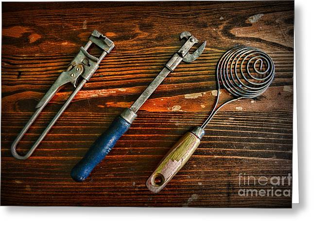 Culinary Greeting Cards - Kitchen - Vintage Kitchen Utensils Greeting Card by Paul Ward