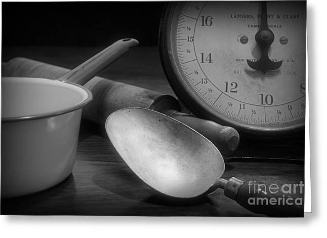 Rolling Pin Greeting Cards - Kitchen - Vintage Kitchenware in black and white Greeting Card by Paul Ward