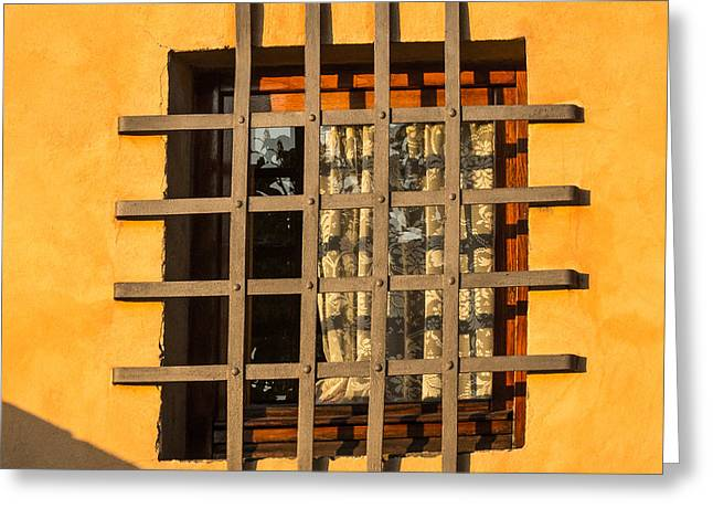 Barred Window Greeting Cards - Kitchen Window Greeting Card by Prints of Italy